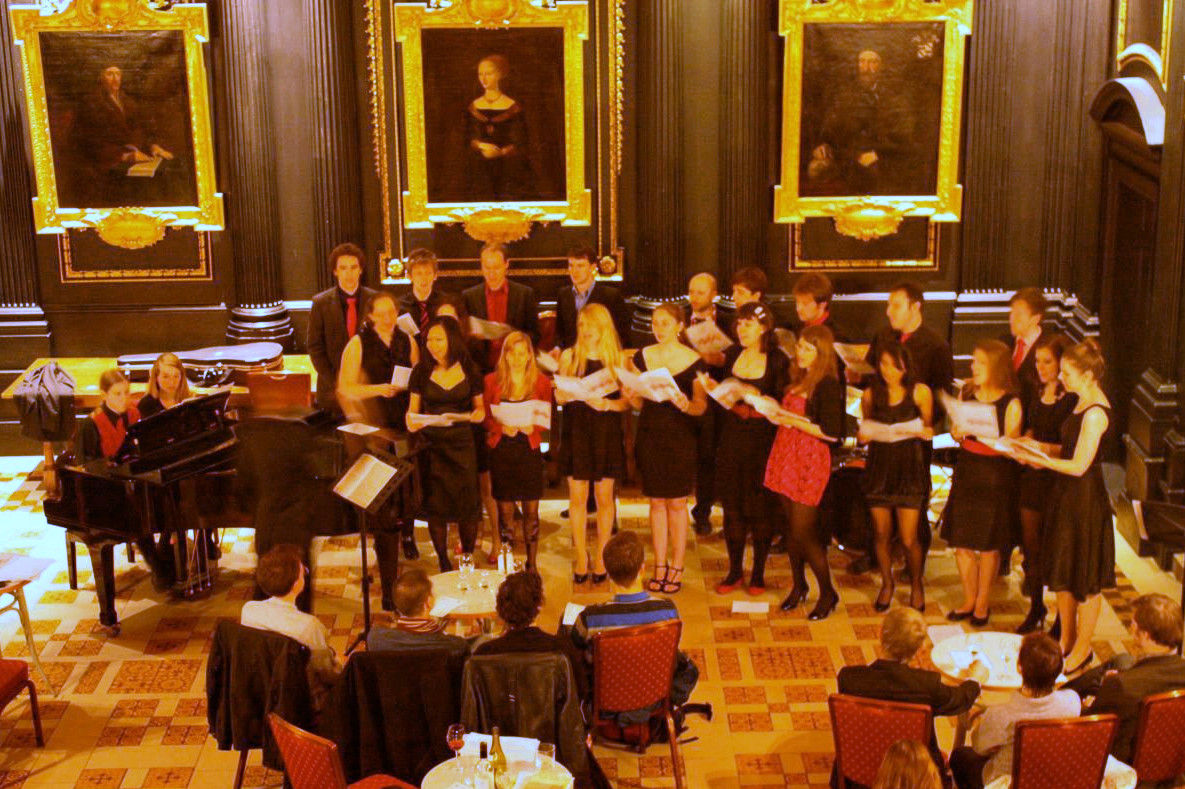 The choir performing in Old Hall